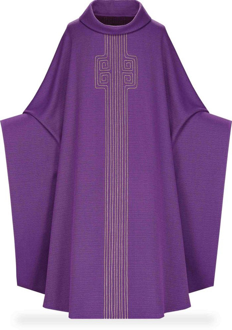 #5239 Gold Cord Embroidered Monastic Chasuble | Roll Collar | Poly/Cotton/Viscose | All Colors