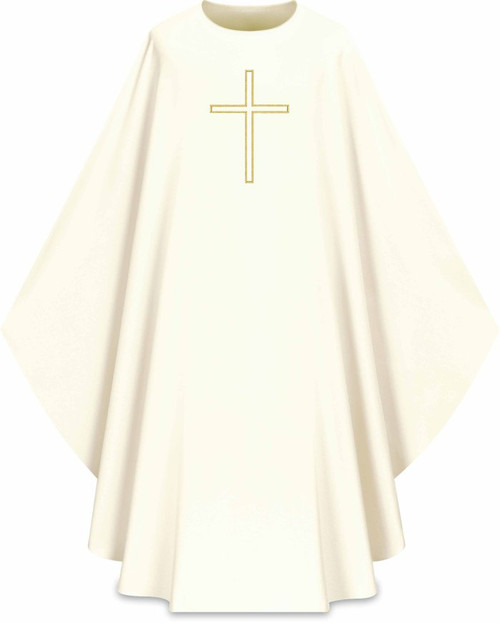Assisi Embroidered Cross Chasuble | Plain Collar | 100% Polyester | All Colors