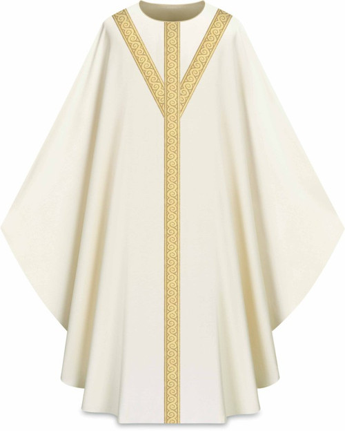 Assisi Woven Orphrey Celebrants Chasuble | Plain Collar | 100% Polyester | All Colors