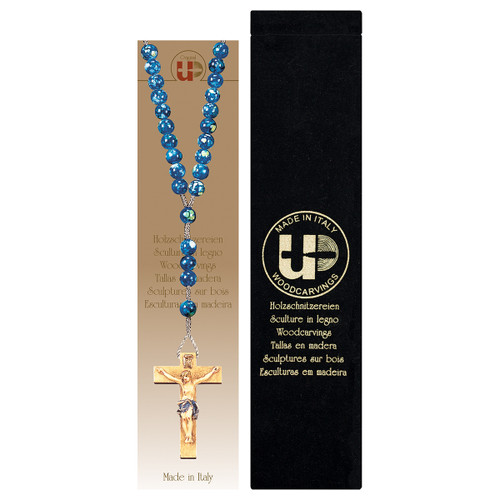 Marbled Blue Wood Bead Rosary with Velvet Case | Hand Carved In Italy