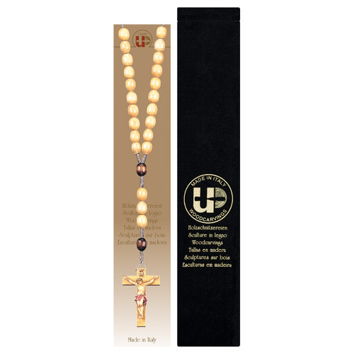 Brown Wood Bead Rosary with Velvet Case | Hand Carved In Italy
