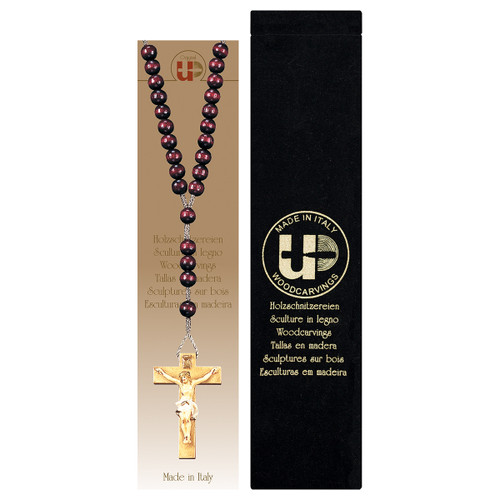 Red Wood Bead Rosary with Velvet Case | Hand Carved In Italy