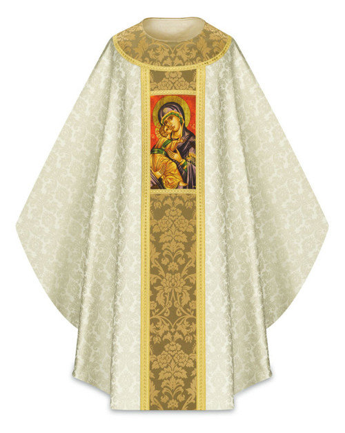 #5289 Printed Marian Chasuble | Plain Collar | 100% Polyester Damask