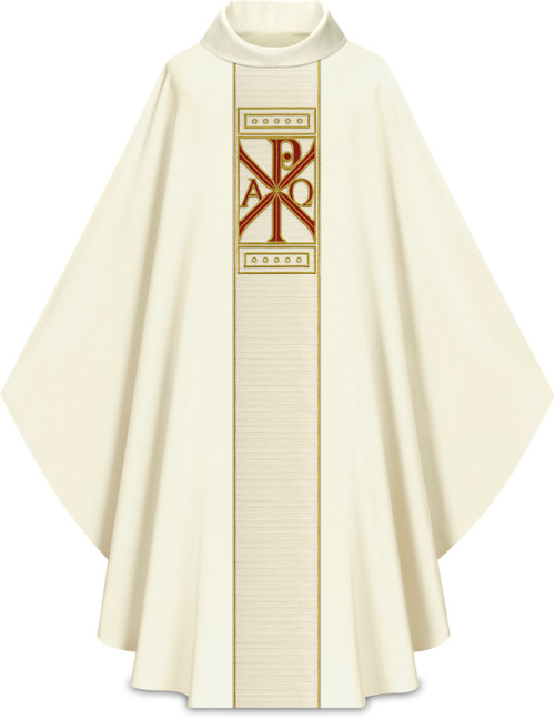 #5329 Embroidered Chi Rho Gothic Chasuble | Roll Collar | 100% Wool | All Colors