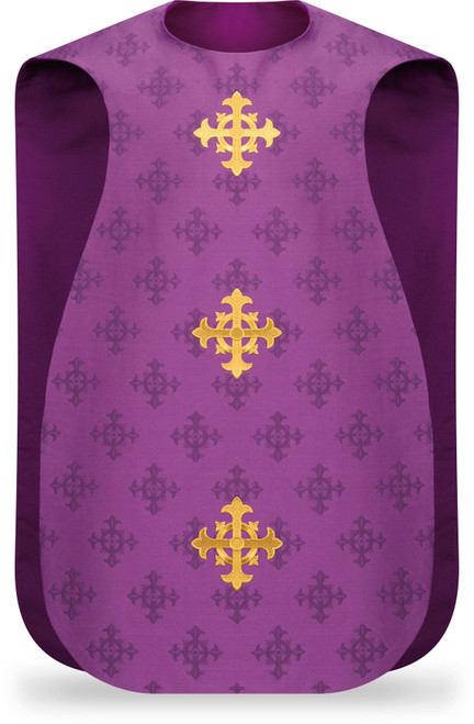 #3978 Embroidered Cross Roman Fiddleback Chasuble | 100% Polyester Damask | All Colors