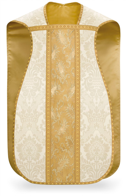 #3986 Hand Embroidered Gold Paschal Lamb Roman Fiddleback Chasuble | Poly/Viscose