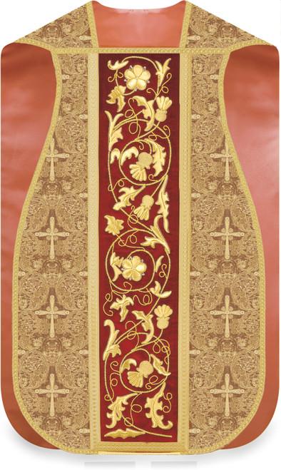 #5342 Hand Embroidered Velvet & Gold Roman Fiddleback Chasuble | Poly/Viscose