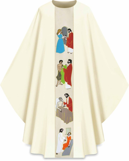 "#5221 ""Works of Mercy"" Printed Gothic Chasuble 