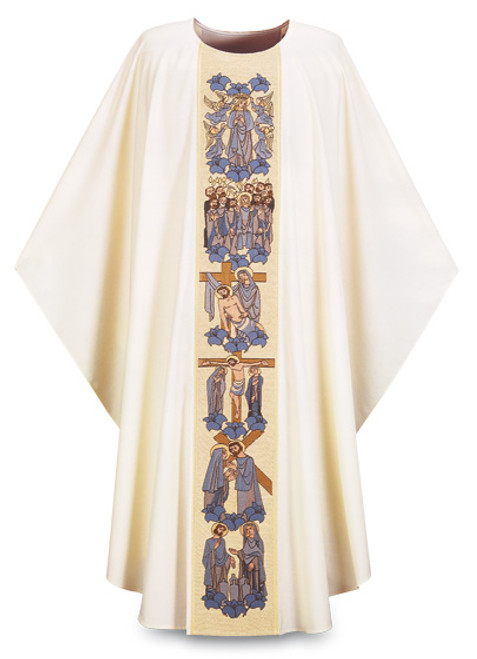 "#3309 ""Life of the Blessed Mother"" Embroidered Gothic Chasuble 