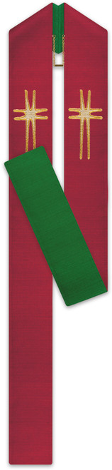 #3806 Embroidered Gold Cross Motif Reversible Stole | Poly/Cotton/Viscose| Red/Green