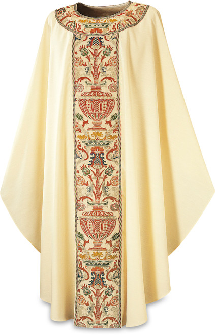 #2750 Regina Coronation Gothic Chasuble   Embroidered Plain Neck   Poly/Viscose   All Colors
