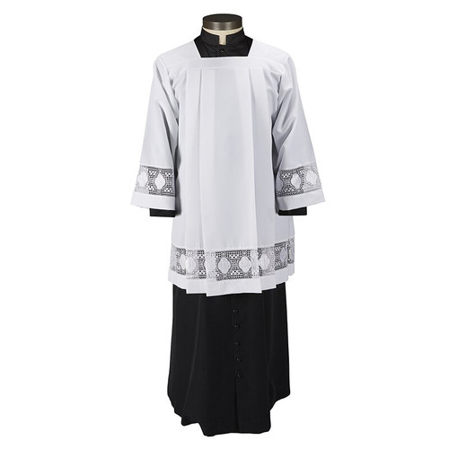 Augustinian Collection IHS Lace Insert Surplice | 100% Polyester