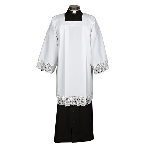 Cross Lace Trim Surplice | 100% Polyester