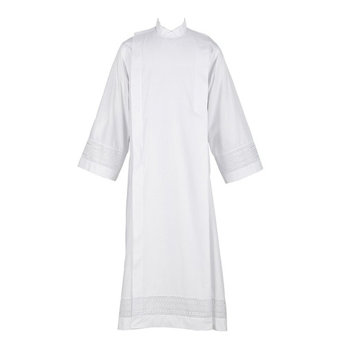 Eyelet Embroidery Front Wrap Alb | Velcro | Poly/Cotton