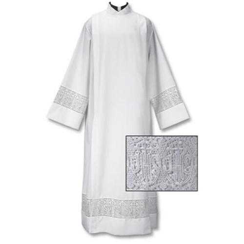 Latin Cross and IHS Lace Front Wrap Alb | Velcro | 100% Polyester