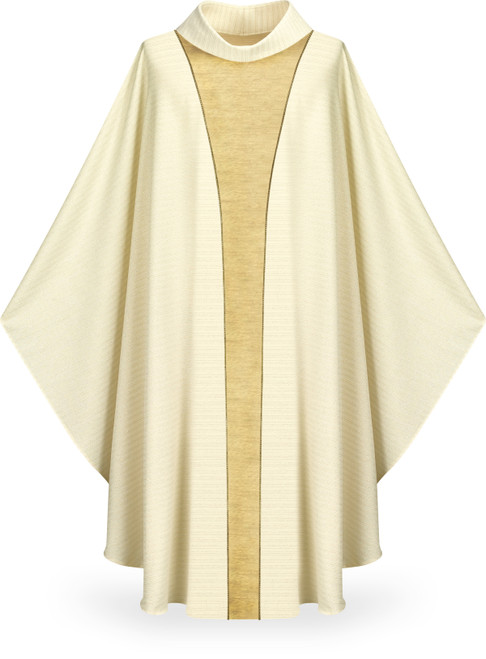 #5344 Gold Band Concelebrants Gothic Chasuble | Roll Collar | Wool/Lurex