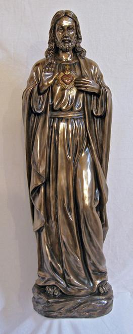 "40"" Sacred Heart of Jesus Statue   Hand Painted Cold Cast Bronze Resin/Fiberglass"