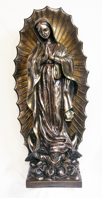 """43"""" Our Lady of Guadalupe Statue   Hand Painted Cold Cast Bronze Resin/Fiberglass"""