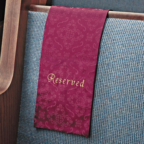 Embroidered Pew Reserved Sign Cloths | Package of 4 | Multiple Colors