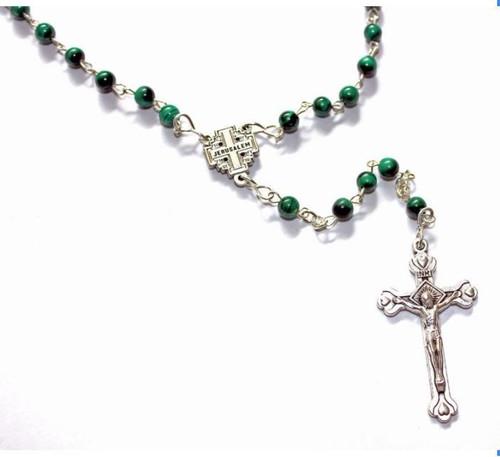 Green Malachite Rosary with Jerusalem Centerpiece