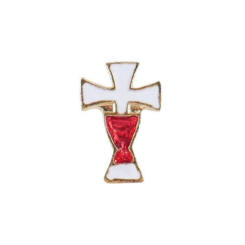 Red Chalice White Cross First Communion Lapel Pin