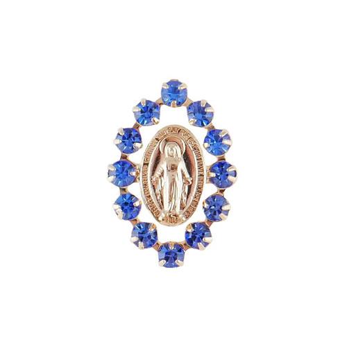 Blue Austrian Crystal Miraculous Lapel Pin