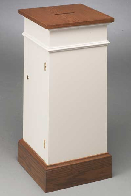 "32"" White Floor Tithe Offering Box 