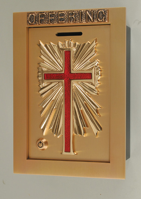 #81OF50 Enameled Cross Wall Enclosed Offering Box | Bronze