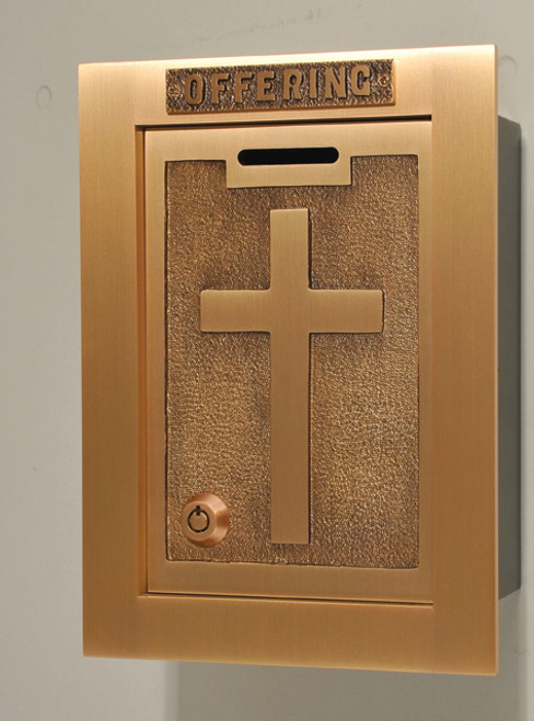 #81OF22 Raised Cross Wall Enclosed Offering Box | Bronze