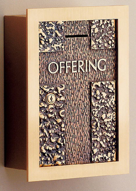 #71OF21 Textured Wall Enclosed Offering Box | Bronze | Multiple Inscription Options