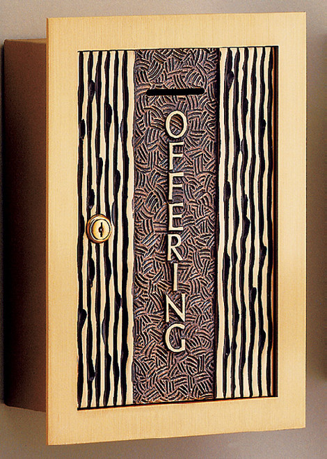 #71OF20 Textured Wall Enclosed Offering Box | Bronze | Multiple Inscription Options