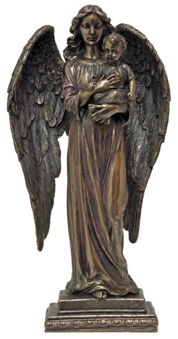 "10"" Guardian Angel Holding Child Statue 