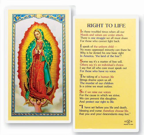Our Lady of Guadalupe Right To Life Prayer Holy Card