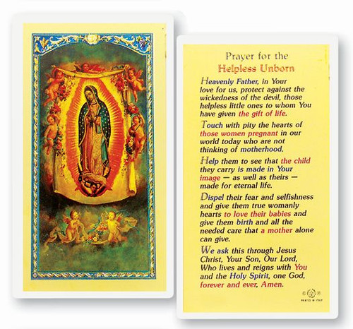 Our Lady of Guadalupe Prayer For the Helpless Unborn Holy Card