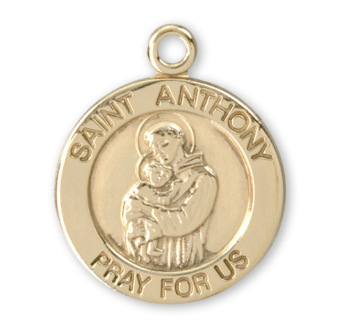 Patron Saint Anthony 14 Karat Gold Round Medal