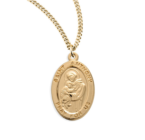 Patron Saint Anthony Oval Gold Over Sterling Silver Medal