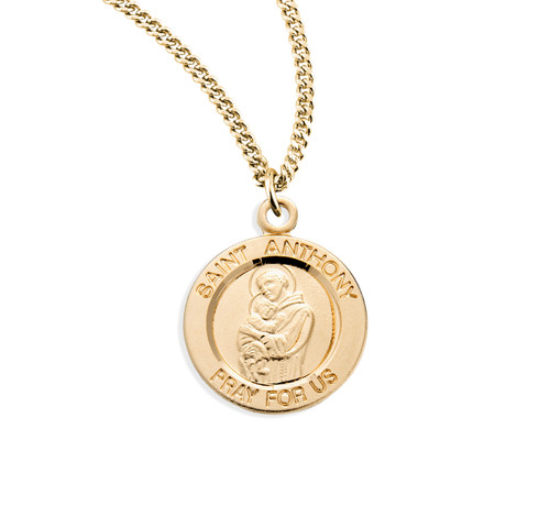 "Patron Saint Anthony Small Round Gold Over Sterling Silver Medal | 18"" Chain"