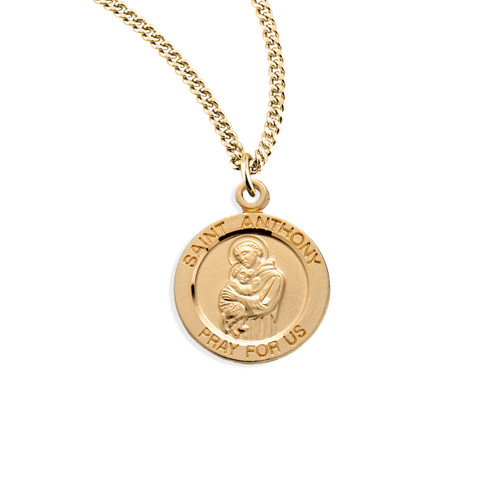 "Patron Saint Anthony Medium Round Gold Over Sterling Silver Medal | 18"" Chain"