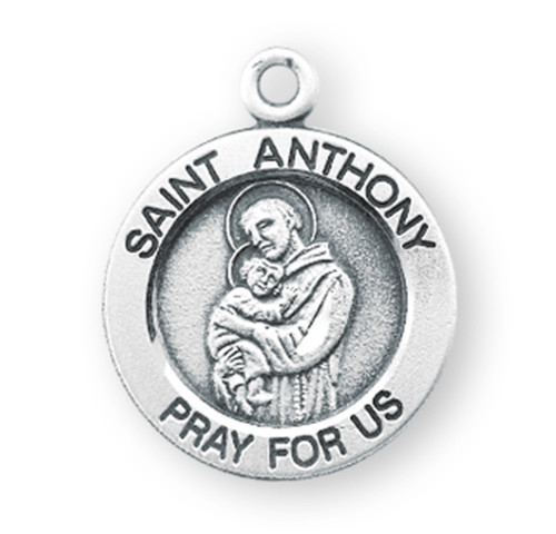 "Patron Saint Anthony Medium Round Sterling Silver Medal | 18"" Chain"