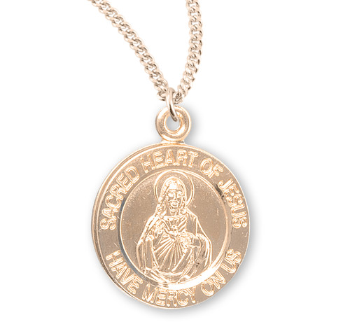 "Sacred Heart of Jesus Double Sided Medium Round Gold Over Sterling Silver Scapular Medal | 18"" Chain"