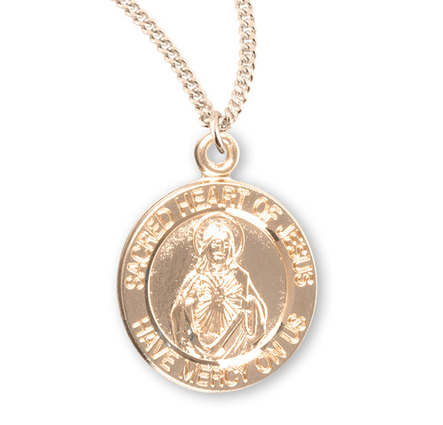 "Sacred Heart of Jesus Double Sided Small Round Gold Over Sterling Silver Scapular Medal | 18"" Cha"