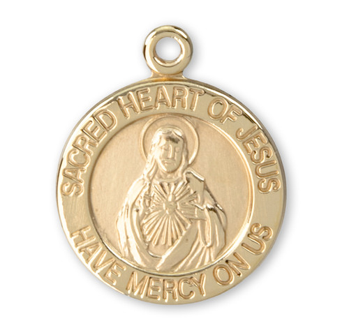 Sacred Heart of Jesus Small Solid 14 Karat Gold Medal