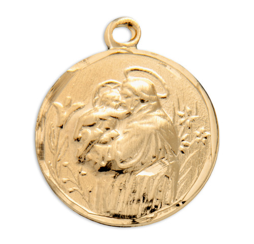 Saint Anthony Round Gold Over Sterling Silver Medal