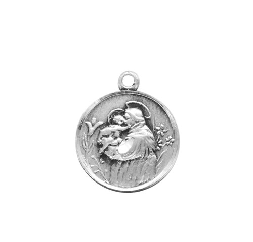 """Small Saint Anthony Round Sterling Silver Medal   18"""" Chain"""