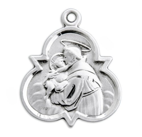 "Medium Saint Anthony Sterling Silver Medal | 18"" Chain"