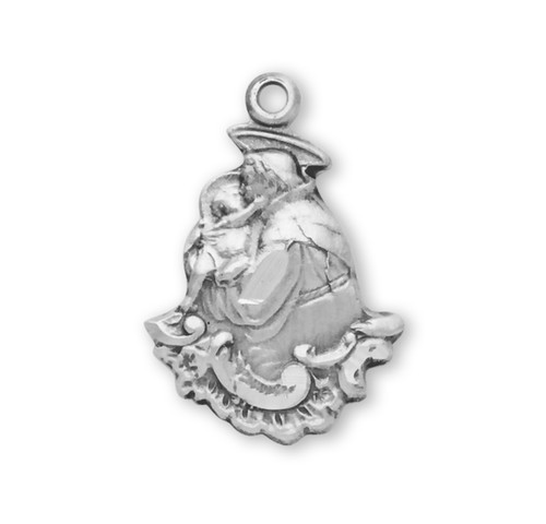 """Small Saint Anthony Sterling Silver Medal   18"""" Chain"""