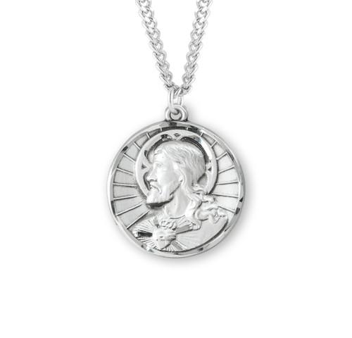 "Sterling Silver Scapular Sacred Heart of Jesus Medal | 24"" Chain"