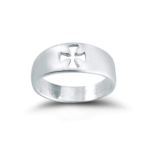 "Sterling Silver Pierced Cross ""Faith"" Ring 