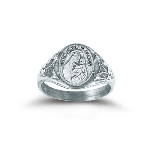 Sterling Silver Our Lady of Mount Carmel Ring with Sacred Heart Inside | All Sizes