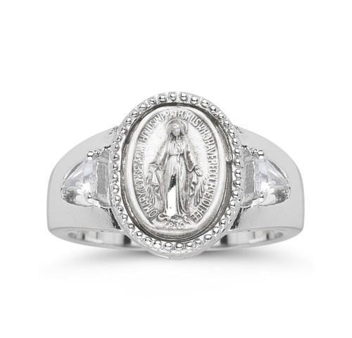 Sterling Silver Miraculous Medal Ring with Two Crystal Cubic Zirconias | All Sizes